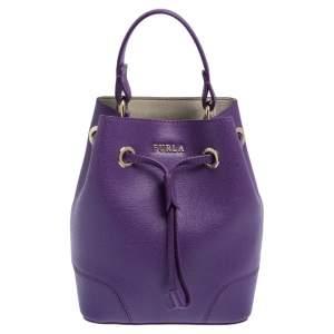 Furla Purple Leather Mini Stacy Bucket Bag