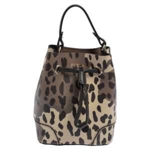 Furla Multicolor Printed Leather Mini Stacy Bucket Bag