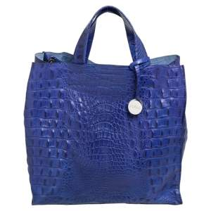 Furla Navy Blue Croc Embossed Leather  Divide It Tote