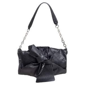 Furla Black Python Embossed Leather Flap Shoulder Bag