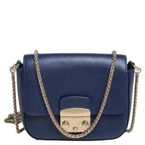 Furla Blue Leather Micro Metropolis Shoulder Bag