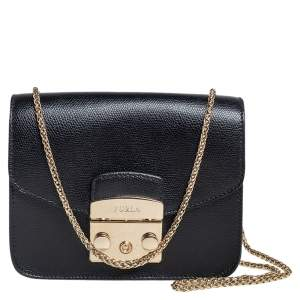Furla Black Leather Mini Metropolis Chain Crossbody Bag