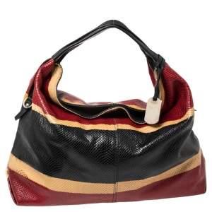 حقيبة هوبو فورلا جلد بنقشة الثعبان متعددة الألوان