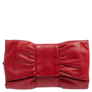 Furla Red Leather Bow Clutch