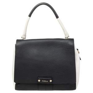 Furla Black/White Leather Flap Top Handle Bag