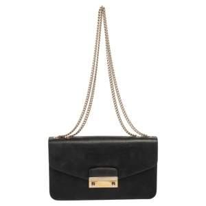 Furla Black Leather Julia Chain Crossbody Bag