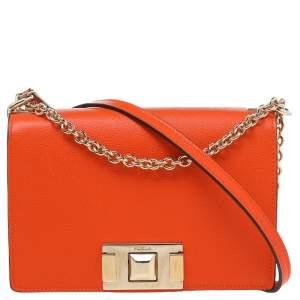 Furla Orange Leather Mimi Shoulder Bag