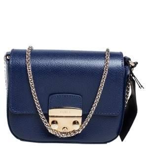 Furla Navy Blue Leather Micro Metropolis Crossbody Bag