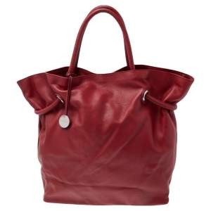 Furla Red Leather Drawstring Tote