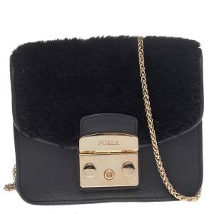 Furla Black Leather And Faux Fur Mini Metropolis Chain Crossbody Bag