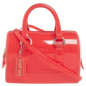 Furla Candy Red Glossy Rubber Mini Candy Satchel