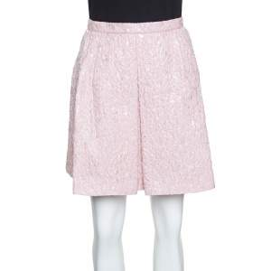 Giambattista Valli Pink Floral Embossed Jacquard Inverted Pleat Mini Skirt M