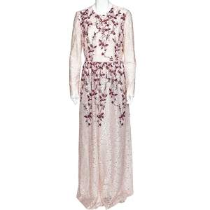 Giambattista Valli Pink Embroidered Tulle  Floral  Applique Detail Gown L