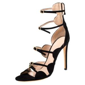 Giambattista Valli Black Suede Open Toe Strappy Cage Sandals Size 40