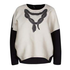 Giambattista Valli Monochrome Snake Pattern Jacquard Long Sleeve Top M