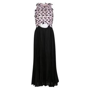 Giambattista Valli Floral Lace  Cutout Waist Detail Plisse Maxi Dress M
