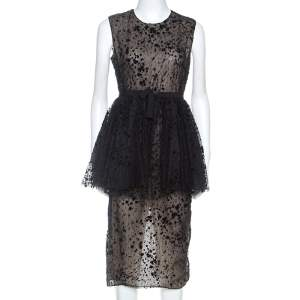 Giambattista Valli Black Tulle Flocked Peplum Midi Dress S
