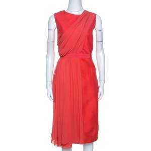 Giambattista Valli Coral Pink Silk Drape Detail Sheath Dress M