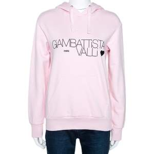 Giambattista Valli x HM Light Pink Logo Print Cotton Hooded Jumper XS