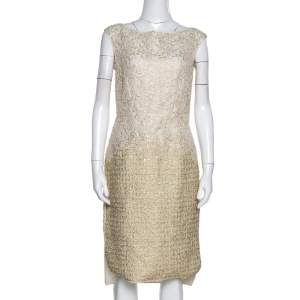 Giambattista Valli Gold & Cream Floral Lace Paneled Sheath Dress S
