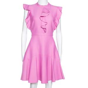 Giambattista Valli Pale Fuschia Pink Ruffled Flared Dress M