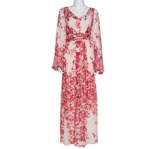 Giambattista Valli Red Abstract Floral Print Crepe Maxi Dress L