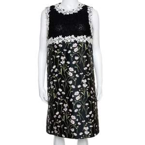 Giambattista Valli Black Floral Jacquard & Lace Mini Dress L