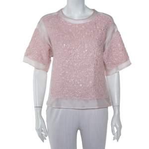 Giambattista Valli Pink Floral Lurex Jacquard & Knit Top S