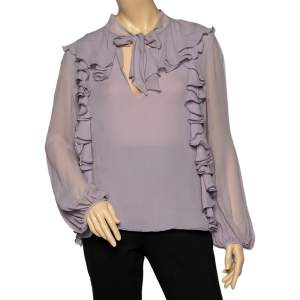Giambattista Valli Lilac Silk Ruffled Neck Tie Detail Top L