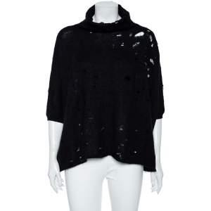 Giambattista Valli Black Mohair Wool Distressed Oversized Jumper S