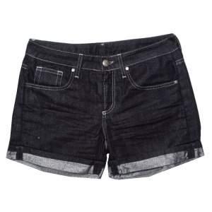 GF Ferre Indigo Dark Wash Metallic Denim Shorts S