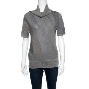 Gianfranco Ferre Metallic Patterned Jacquard Knit Short Sleeve Top M