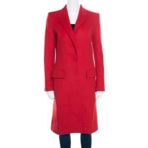 معطف جيانفرانكو فيري صوف أحمر وكشمير طويل S