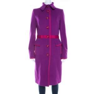 GF Ferre Purple Wool Button Front Long Coat S