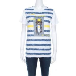 Gianfranco Ferre Striped Cotton Printed Crew Neck T Shirt M