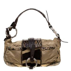 Gianfranco Ferre Beige/Brown Nylon/Python and Calfhair Satchel