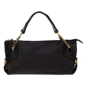 Gianfranco Ferre Black Nylon and Leather Buckle Shoulder Bag