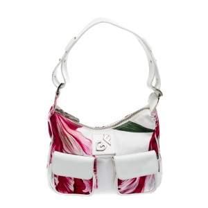حقيبة كتف جيانفرانكو فيري مطبوع مورد جيب كانفاس و جلد أبيض و وردي