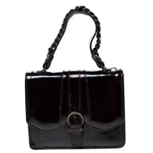 Gianfranco Ferre Burgundy Patent Leather Satchel