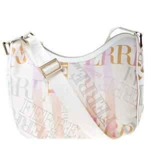 Gianfranco Ferre Multicolor Logo Print PVC and Canvas Shoulder Bag
