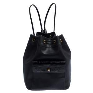 Gianfranco Ferre Black PVC and Crocodile Embossed Leather Pocket Drawstring Sling Bag