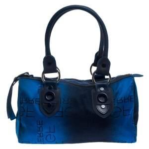 Gianfranco Fere Blue/Black Ombre Logo Print Fabric Bowler Bag