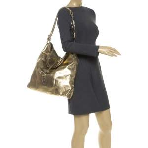Gianfranco Ferrer Gold Python Embossed Leather Hobo