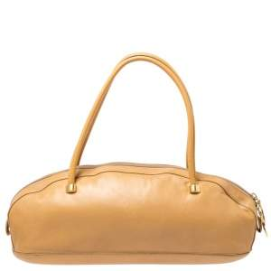 Gianfranco Ferre Beige Leather Bowler Bag