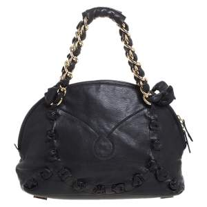 Gianfranco Ferre Black Leather Satchel