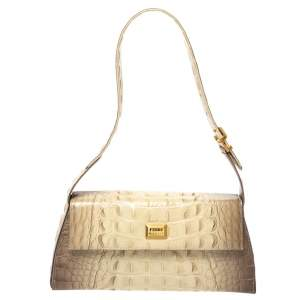 Gianfranco Ferre Croc Embossed Leather Shoulder Bag