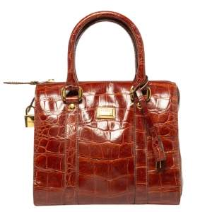 Gianfranco Ferre Brown Croc Embossed Leather Satchel