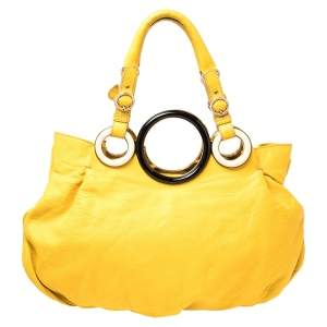 Gianfranco Ferre Mustard Soft Leather Ring Handle Shoulder Bag