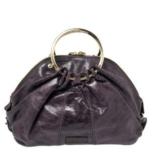 Gianfranco Ferre Purple Leather Metal Ring Handle Satchel