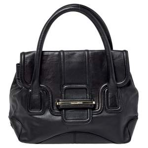 Gianfranco Ferre Black Leather Flap Satchel